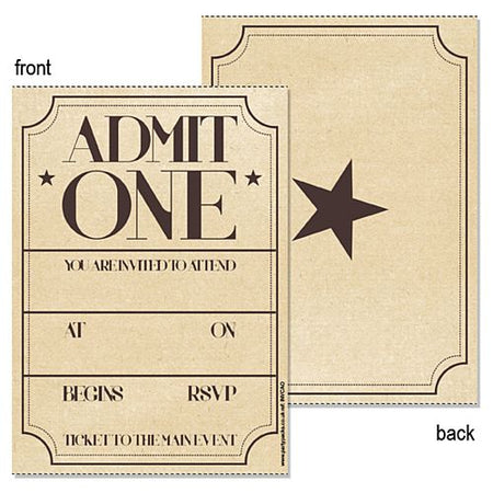Admit One Vintage Effect Invite - Pack of 8