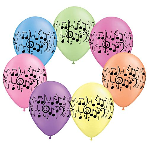 Music Notes Neon Assorted Qualatex Balloons - 27.9cm - Pack of 10