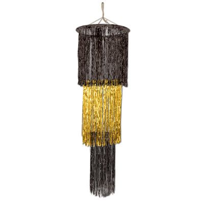 Black & Gold 3-Tier Shimmering Chandelier - 1.22m