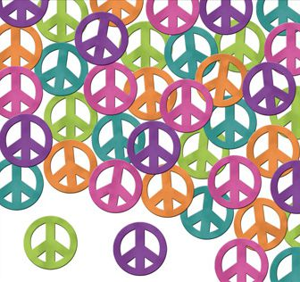 Multicolour Peace Signs Confetti - 1oz