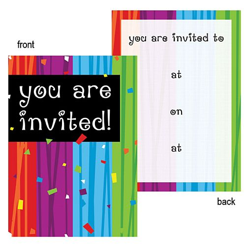 Colour Stripes Confetti Invites - Pack of 8