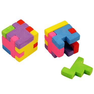 Puzzle Eraser Cube - Assorrted Colours - Each