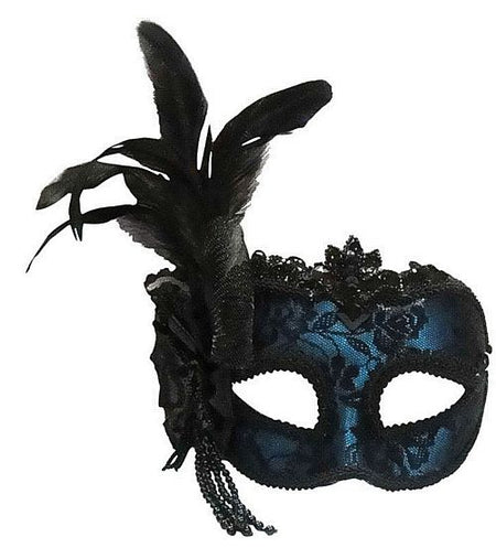 Turquoise Blue Mask With Side Feather On Headband