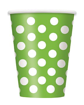 Lime Green Dots Cups - Pack of 6