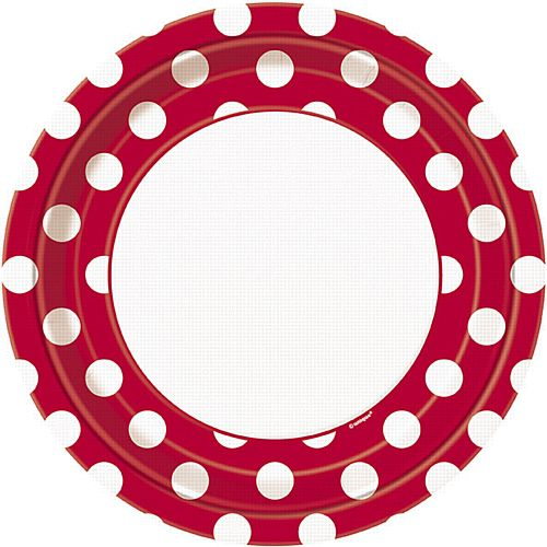 Red Dots Plates - Pack of 8 - 9""