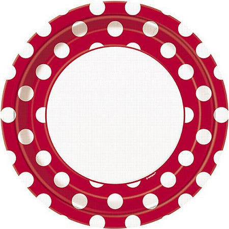 Red Dots Plates - Pack of 8 - 9