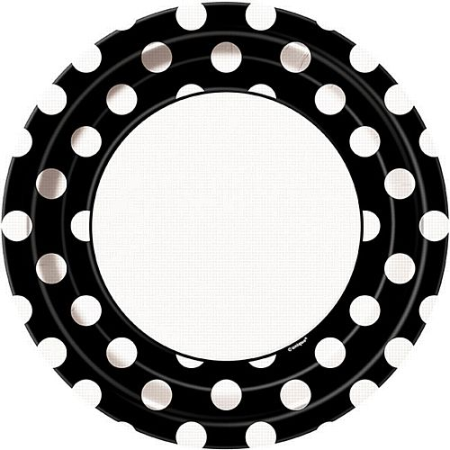 "Black Dots Plates - 9"" - Pack of 8"