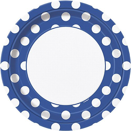 Blue Dots Plates - Pack of 8 - 9""