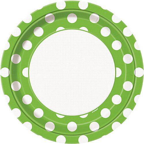 Lime Green Dots Plates - Pack of 8 - 9""