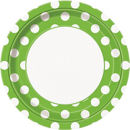 Lime Green Dots Plates - Pack of 8 - 9