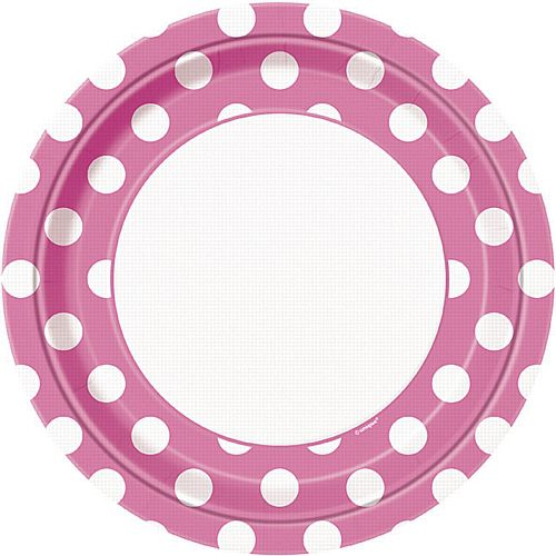 Pink Dots Plates - Pack of 8 - 9""