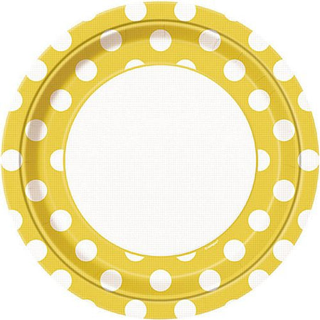 Yellow Dots Plates - Pack of 8 - 9