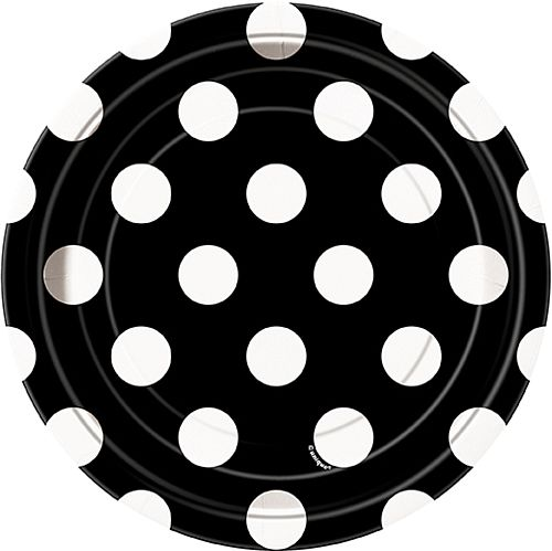 Black Dots Plates - Pack of 8 - 7""