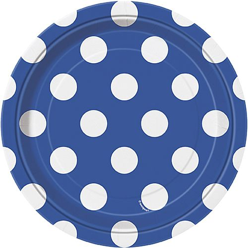 Blue Dots Plates - Pack of 8 - 7""