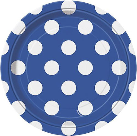 Blue Dots Plates - Pack of 8 - 7