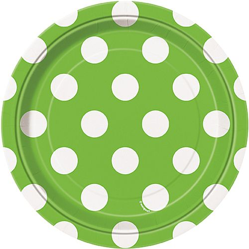 Lime Green Dots Plates - Pack of 8 - 7""