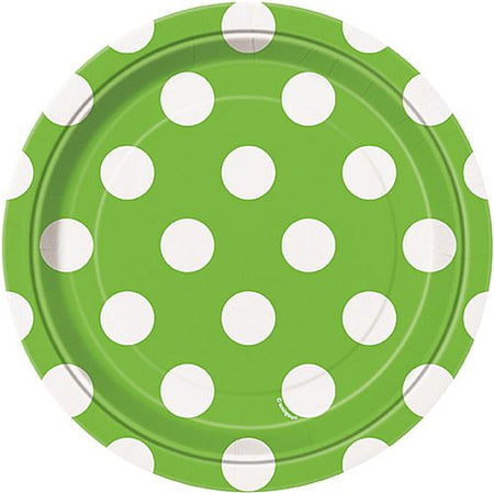 Lime Green Dots Plates - Pack of 8 - 7