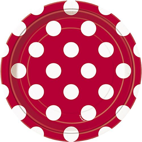 Red Dots Plates - Pack of 8 - 7""