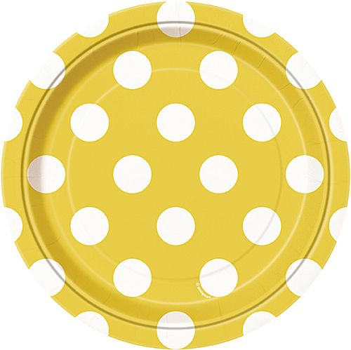 Yellow Dots Plates - Pack of 8 - 7""