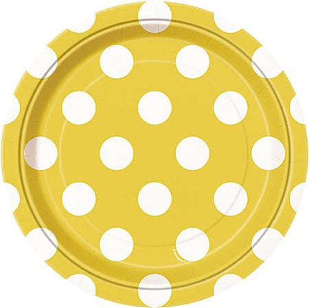 Yellow Dots Plates - Pack of 8 - 7