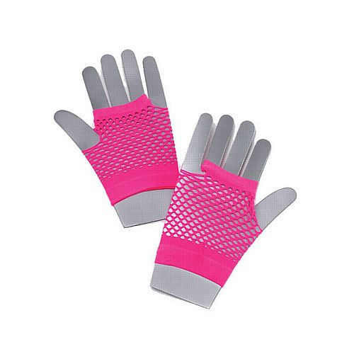 Short Neon Pink Fishnet Gloves
