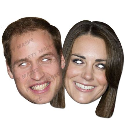 Duchess Kate & Prince William Card Masks - Pack of 2