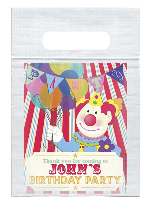 Personalised Clown Themed Card Insert With Sealed Party Bag - Each