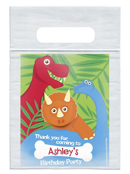 Personalised Dinosaur Themed Card Insert With  Sealed Party Bag - Each