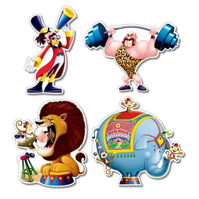 Circus Cutouts - 35.6cm - Assorted Designs - Pack of 4