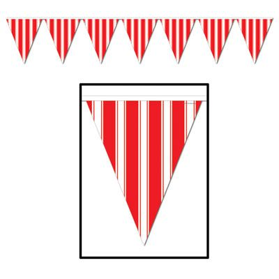 Red and White Striped  'All Weather' Bunting - 3.7m (12') - 12 flags