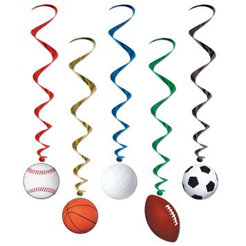 Sports Whirls - 1.02m - Assorted Designs - Pack of 5