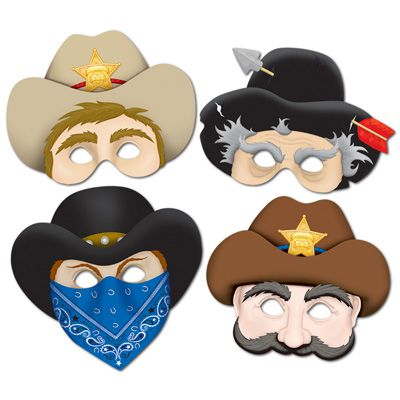 Western Masks - 33cm - Pack of 4