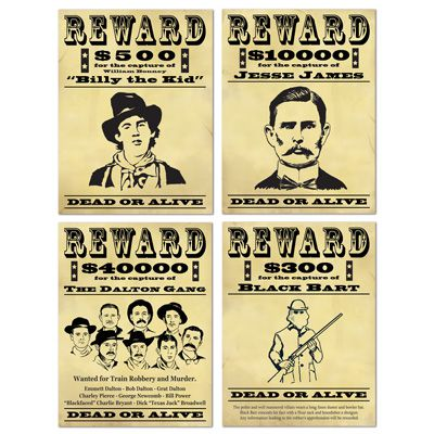 Wanted Sign Cutouts - 48.3cm - Assorted Designs - Pack of 4