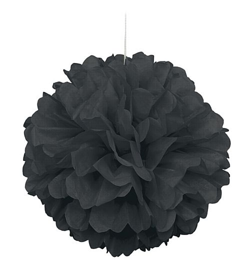Black Pom Pom Tissue Value Decoration - 40cm