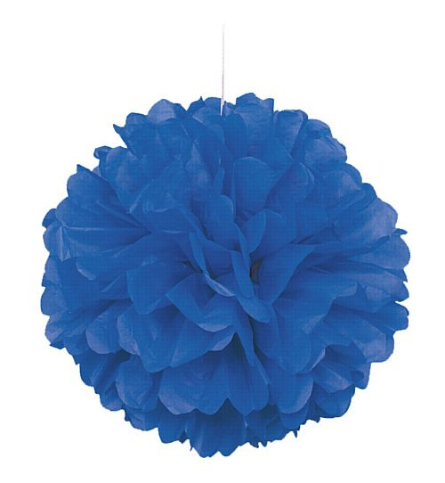 Blue Pom Pom Tissue Value Decoration - 40cm
