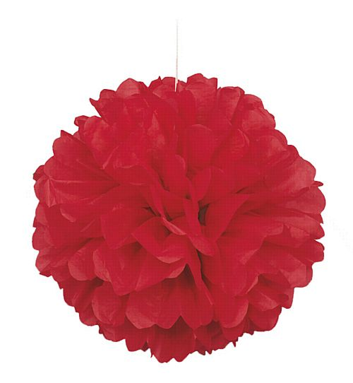 Red Pom Pom Value Tissue Decoration - 40cm