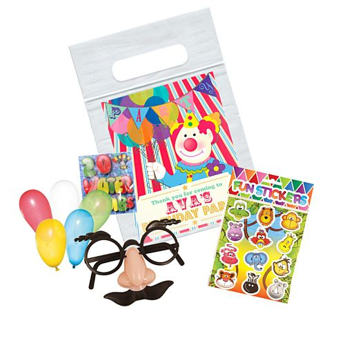 Clown Themed Personalised Clear Sealable Bag - With Contents