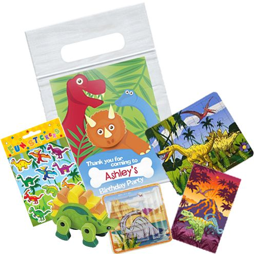 Dinosaur Themed Personalised Clear Sealable Bag - With Contents