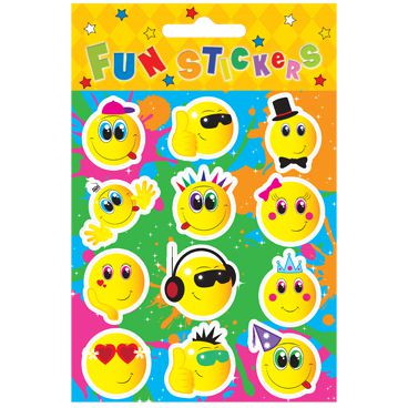 Stickers Smile Face - 11.5cm - Pack of 12