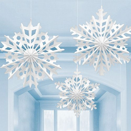 Snowflake Paper Hanging Fan Decoration - Pack of 3