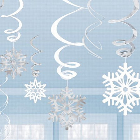 Snowflake Value Pack Swirl Decoration - Assorted Designs - Pack of 12