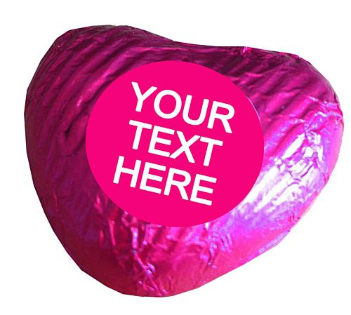 Personalised Heart Chocolates- Fuschia - Pack of 24
