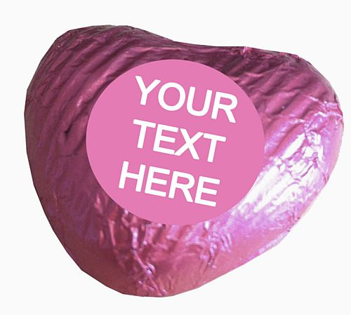 Personalised Heart Chocolates- Pale Pink - Pack of 24