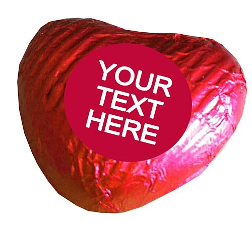 Personalised Heart Chocolates- Red - Pack of 24