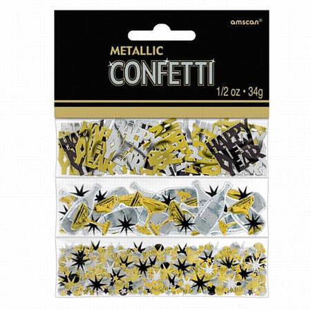 New Year Black, Silver & Gold Triple Pack Confetti - 31g
