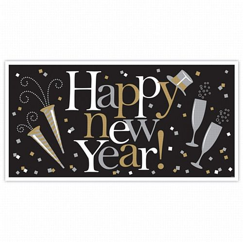 New Year's Giant Sign Banner Black, Silver & Gold - 1.65m