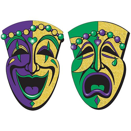 Jumbo Glittered Comedy Tragedy Faces 622cm Pack Of 2
