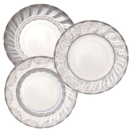 Assorted Party Porcelain Silver Plates - 18cm - Pack of 12