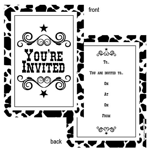 Cow Print Invite - Pack of 8