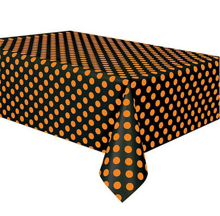 Orange & Black Polka Dot Plastic Tablecloth - 54